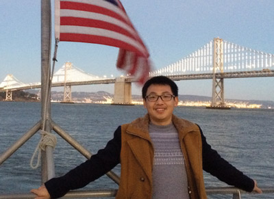 Anying Wang on a San Francisco Bay Ferry